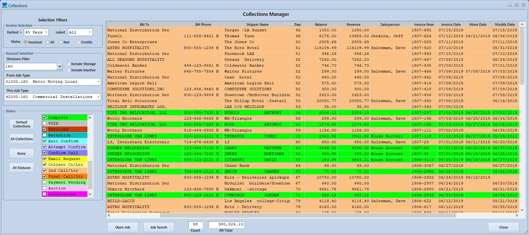 CompuMoves's Collections Manager Screen