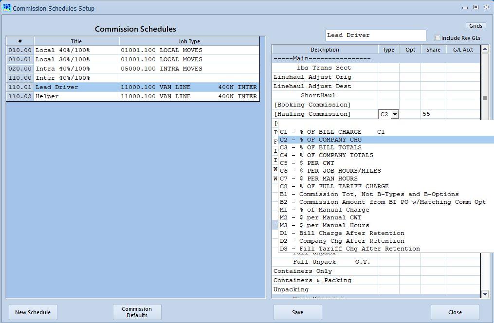 Commission Schedule Setup