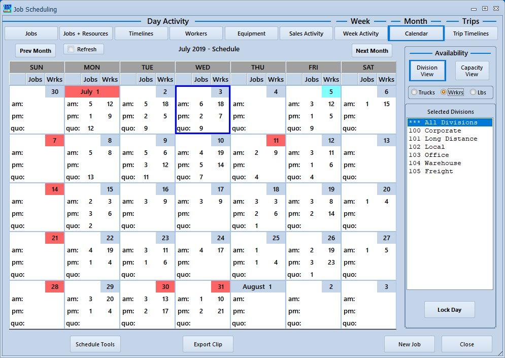 Movers Master Calendar